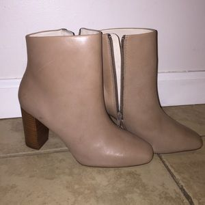 Zara leather ankle booties in nude
