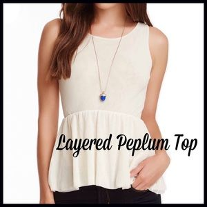Sweet Pea Tops - Ivory Peplum Top