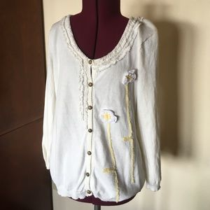 Anthropologie Sweaters - Nick & Mo Off White Flower Cardigan Sweater L