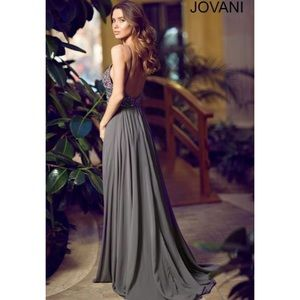 Jovani grey beaded prom dress