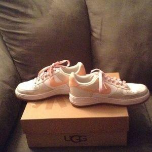 a32c6ca383b Nike Shoes - Pink White Glitter Bling Nike Air Force One Heart