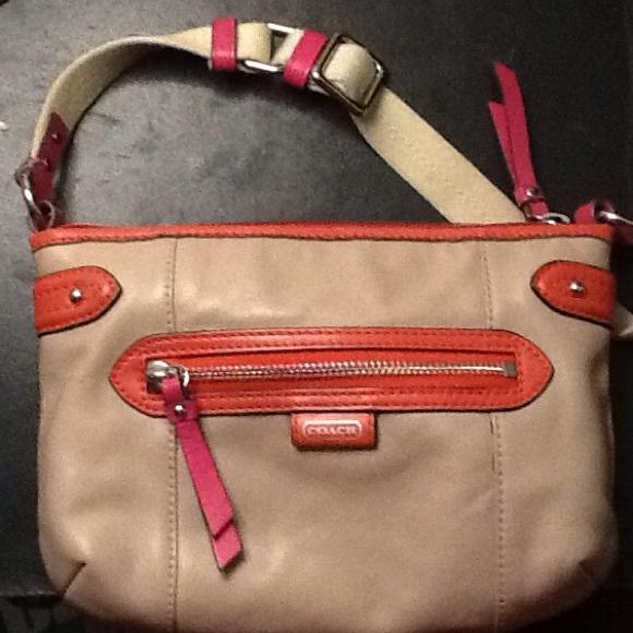 72e9fffa8dd Coach Bags   Leather Crossbody Bag Tan W Pink Trim   Poshmark