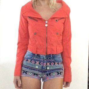 Diesel orange off shoulder lux jacket xs/s