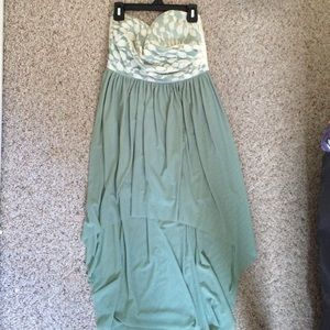 Dresses & Skirts - High-low teal and lace dress