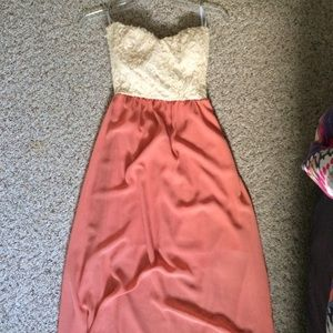 Floor length coral strapless dress!