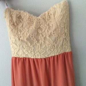 Papaya Dresses - Floor length coral strapless dress!