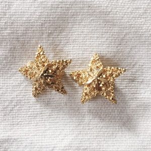 Vintage Gold Plated Star Earrings