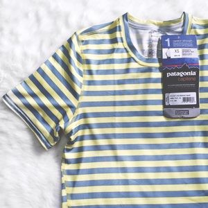 Patagonia Tops - Patagonia Striped Gray & Yellow Slim Fit Tee