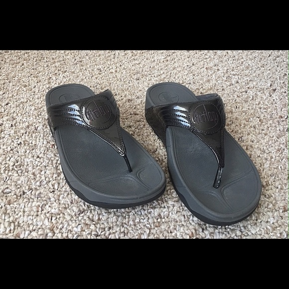 6915e959a9f78c FitFlops Shoes - FitFlop WalkStar III Black Patent Leather MINT CON