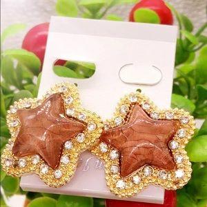 Cute Gold Filled CZ Brown Star Earrings