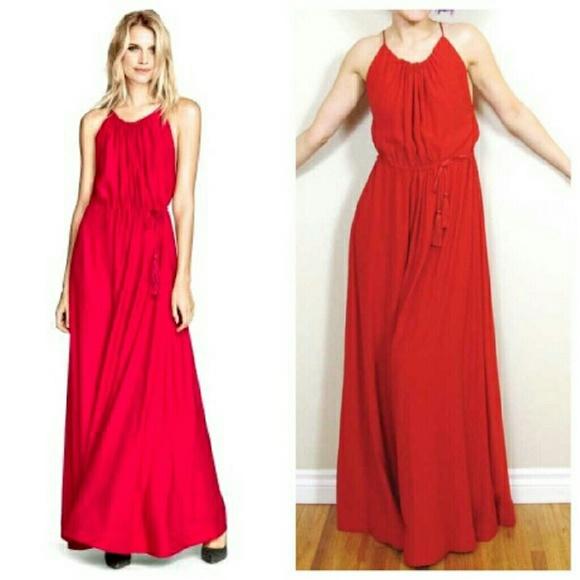 35% off H&M Dresses & Skirts - H&m red satin maxi dress size 8 ...