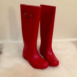 Shoes - Red Knee High Buckle Rain Boots