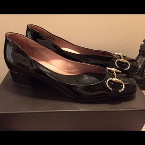 Gucci Black Patent Leather Mid Heel