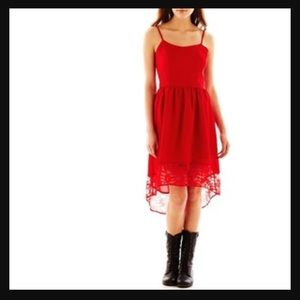 ❤ mac + jac Red Crepe Hi Lo Dress