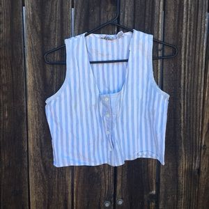 Vintage Tops - Super cute baby blue and white striped