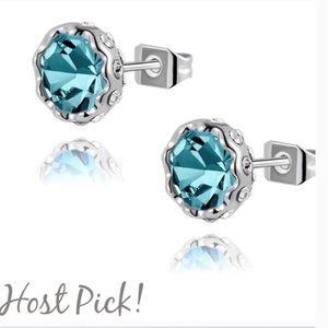 Jewelry - 18K platinum plated blue Austrian Crystal studs
