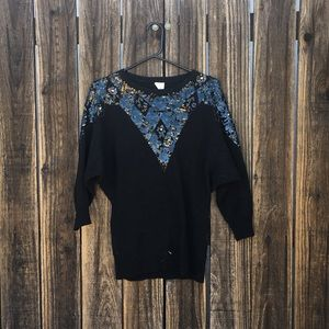 Vintage Sweaters - Vintage sequin sweater with beautiful detail