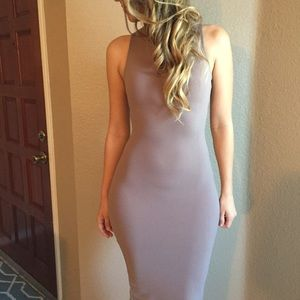 Taupe Sleeveless Midi Dress (LAST MEDIUM!)