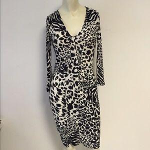 Boston Proper black white Animal Print Dress 0