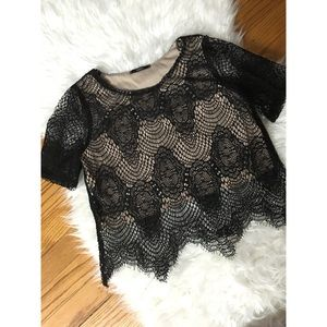 Tops - • Black/Nude lace top size Small •