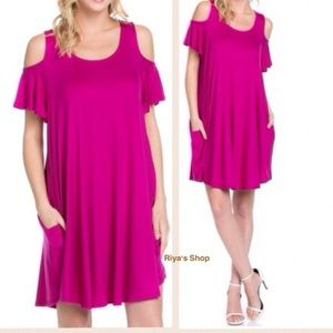 Soft comfy Magenta cold shoulder dress with pocket