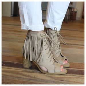 Beige fringe lace up bootie