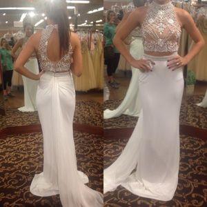 white Sherri Hill two piece prom dress
