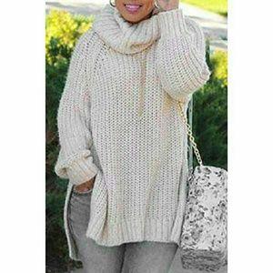 Sweaters - White Oversized Turtle Neck Side Slit Knit Sweater