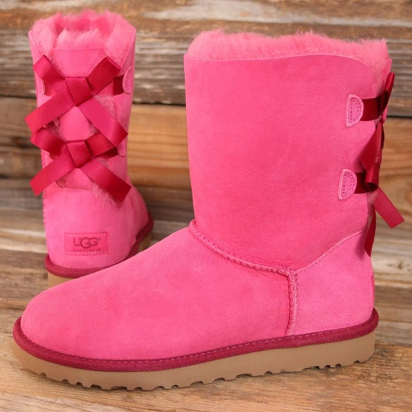 UGG Bailey Bow Diva Pink Sheepskin Boots US 7 NEW!