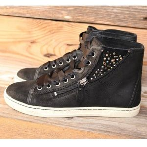 Ugg Shoes Blaney Crystals Black Leather Sneakers 85 New