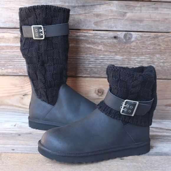 a6504ffb021 UGG Cassidee Black Leather Classic Boots US 7 NEW!