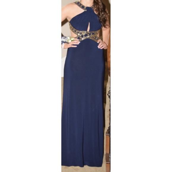 Dresses | Navy Blue And Gold Prom Dress | Poshmark