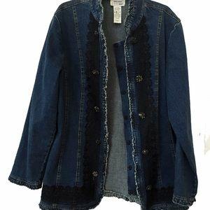 David Kiavit Jackets & Blazers - Boho chic soft fitted embellished denim jacket