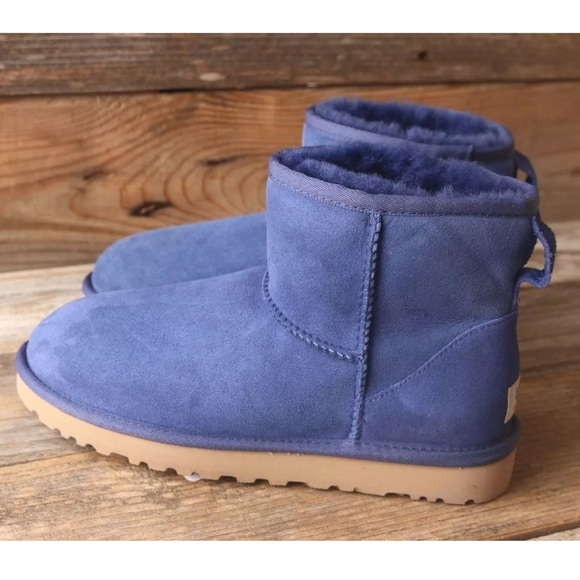 UGG Classic Mini Ink Blot Blue Sheepskin Boots 7