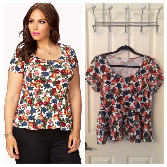 bc2dc413359 Forever 21 Tops - Plus Size Floral Peplum Top