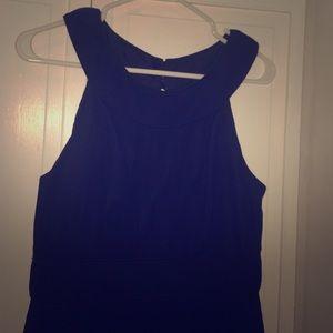 Navy silk chiffon reverse halter dress