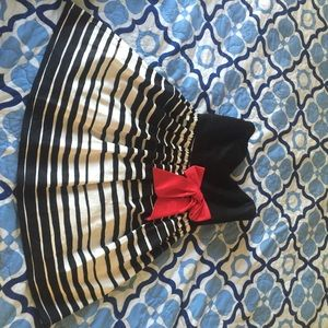 Striped Dress with Red Bow Detail