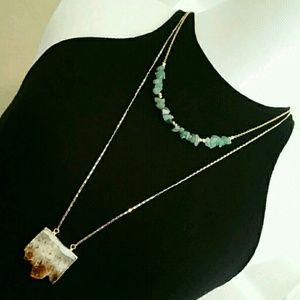 Function & Fringe Jewelry - Function & Fringe Agate sliced stone pendant