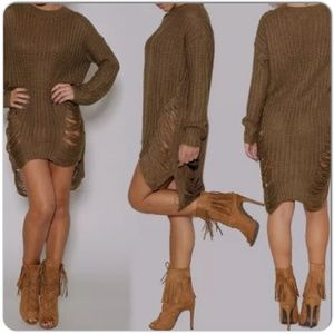 Sweaters - NEW MOCHA DISTRESSED SWEATER