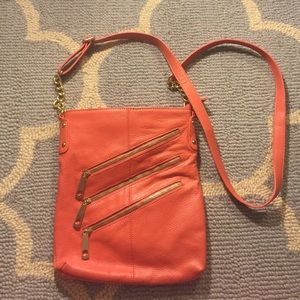 Coral gold zipper cross body bag