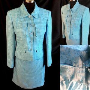 Bob Mackie Aqua Tweed Suit Skirt Lucite  HP 