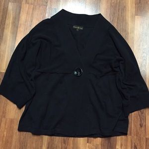 Loose Black Cinnamon Cinder Sweater w Button Front