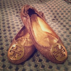 ♥️Authentic♥️Tory Burch Gold Ballet Reva Flats