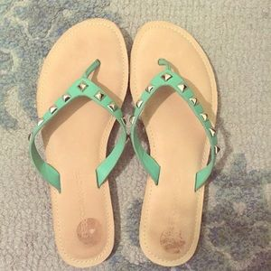 Rebecca Minkoff mint green stud sandals