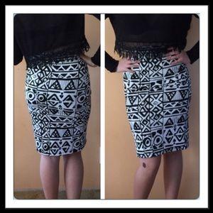 Classic Woman Dresses & Skirts - Geo print midi skirt