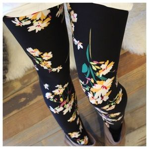 Black floral print leggings