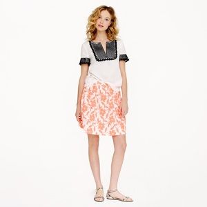 J. Crew Embroidered Neon Floral Skirt