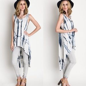 """Inscription"" Tie Dye Loose Tank Tunic Top"