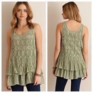 SALE📢Boho Sage Crochet Overlay Top