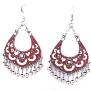 Jewelry - NEW Red Boho Earrings